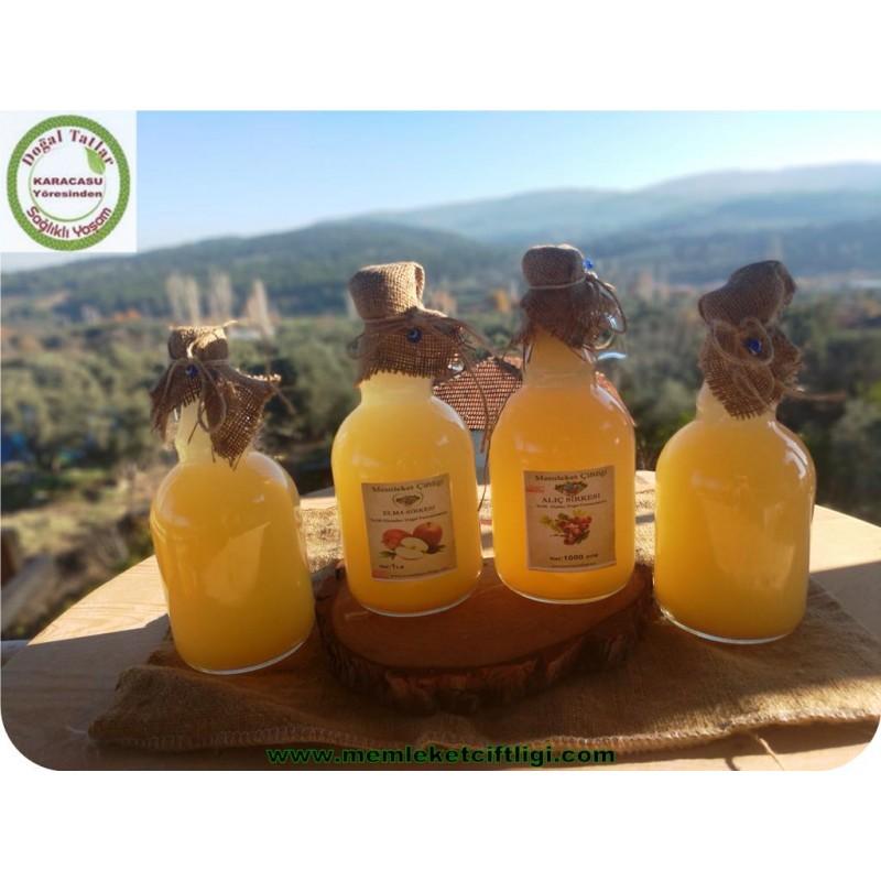4'lü Doğal Fermente Ev Yapımı Elma-Alıç Sirkesi 1 Lt (Cam Şişe )