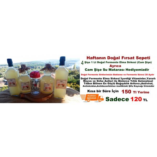 Doğal Fermente Elma Sirkesi 1 Lt (4 Lü Ekonomik Paket