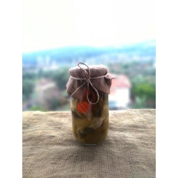 Doğal Fermente Karışık Turşu 1 Kg Elma Sirkesi İle Kurulmuştur Cam Kavanoz