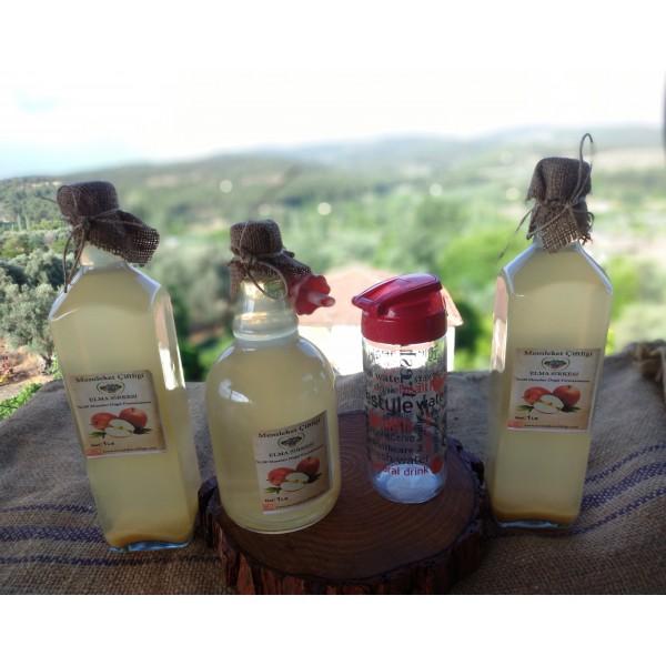3 Adet Doğal Fermente Elma Sirkesi 1 Lt Cam Şişe (Cam matara &Yağdanlık Hediye ) Kampanyalı Ürün